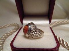 Régi köves ezüst gyűrű - sárga kővel