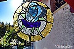 X. Tiffany Kék Rózsa, Ablakkép, Fali kép. Készítő művésztől.