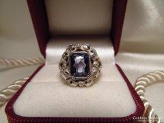 Antik köves ezüst gyűrű - 900 as ezüst