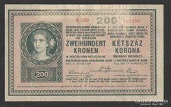 200 korona 1918.  2000 alatti, sima hátlap !!!   RITKA!!!