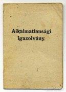 Honvéd alkalmatlansági igazolvány 1951