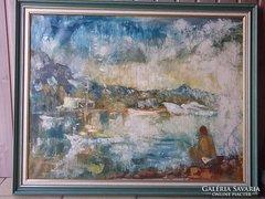 Dekoratív hangulatos Vincze Győző Horgász a Balatonon o.,v.+igényes fakeret-garanciával