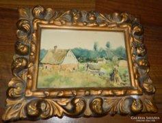 Gyönyörű antik akvarell tájkép
