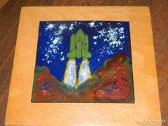 Űrhajó  - tűzzománc kép