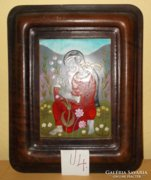 STEFANIAY EDIT tűzzománc kép - Nő virággal