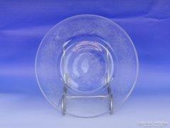 0D417 Régi díszes maratott üveg tányér
