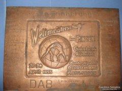 Réz emlékplakett  1955. Karlsruhe kötött fogású V.B.