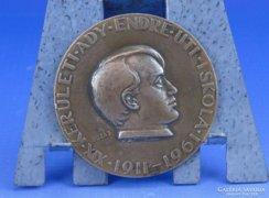 0D711 Jelzett Ady Endre bronz plakett