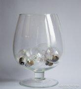 Hatalmas üvegpohár - talpas gömbakvárium dekorációnak
