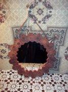 Retró kerek bőr keretes fali tükör 31,5cm