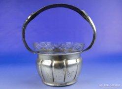 0E012 Üvegbetétes jelzett ezüstözött fém kosár