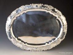Ezüst nagyméretű barokk stílusú tálca