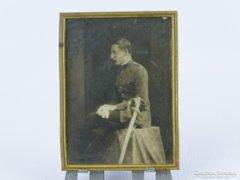 0E056 Antik filigránozott réz keret katona fotóval
