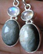 925 ezüst fülbevaló kaboson holdkő és macskaszem