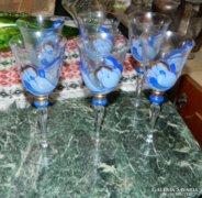 Csodás kézzel festett talpas üveg pohár készlet 6 db-os