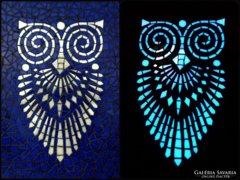Mozaik falikép, art deco stílusu bagoly motívummal ELKELT!