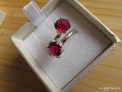 Két köves ezüst gyűrű - piros kövekkel - új ékszer