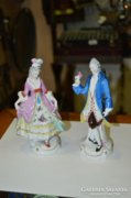 Német porcelán férfi és női figura