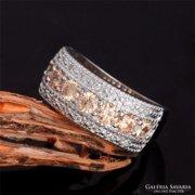 Pezsgőszínű köves ezüst gyűrű, 7-es ÚJ!