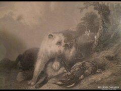 1732 Antik rézmetszet vadászjelenet vadászat 4