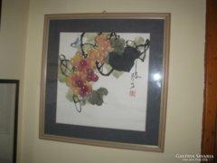 Eredeti kínai festmény - szőlőfürt rebbenő madárral