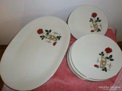 Rózsás porcelán sütis készlet 6+1 darabos