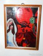 Különleges tűzzománc kép - Chagall motívumokkal