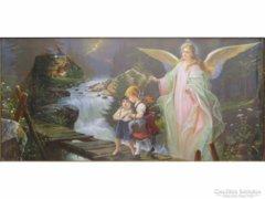 0E289 Régi angyalos olajnyomat gyerekekkel