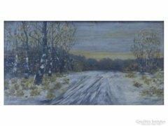0E285 Téli erdő olaj papír festmény