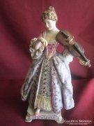Ritka, XIX. század végéről, Passau porcelán, hegedűs hölgy