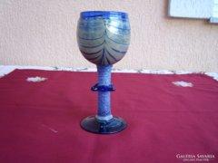 Kék  Art Deco üveg kehely
