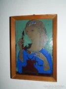 Art Deco tűzzománc kép : Nő telefonnal