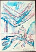 Frank Frigyes: Csendélet kávédarálóval, 1965 - akvarell