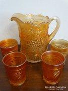 Irizáló üveg vizeskancsó 4 pohárral, 1911. Fenton Carnival