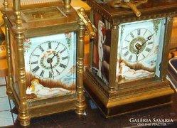Francia réz utazó órák porcelán képekkel