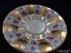 1844-47 KPM-Berlin-opulens-rózsás teás csésze alátétt-15 cm