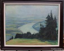 Emil Harlfinger: Rajna-völgy látképe a Fekete-erdőből