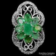 Valodi Termeszetes  Smaragd, 925 Ezust Gyuru