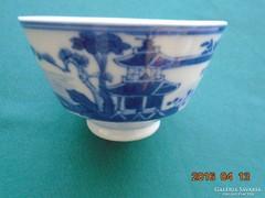 """Kangxi kék fehér """"Folyó parti tájkép pagodával""""mintával szignós teás csésze"""