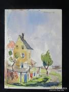 MOSSHAMMER GYÖRGY jelzett festmény NAGY MOSÁS 1956