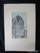 MOSSHAMMER GYÖRGY kvalitású festmény ÖREG ANYÁM 1949
