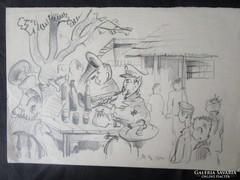 MOSSHAMMER GYÖRGYJelzett rajz kép TÜZOLTÓ ZENEKAR 1950