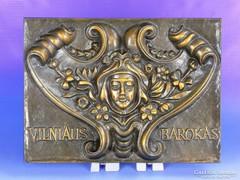 0F119 Bronzírozott barokkos falikép faliplakett
