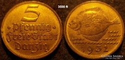 Danzig  5 pfennig  1932