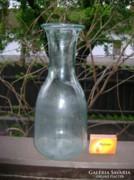 Régi, széles szájú türkiz üveg karaffa, kiöntő