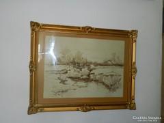 Artner Ferenc akvarell festmény blondel keretben