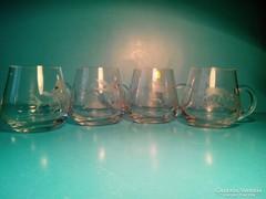 WMF erdei jelenetes üveg pohár, csiszolt, 4 db