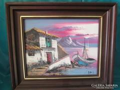 Olajfestmény kerettel a kikötő   kép, szép állapot