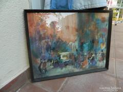 Budapesti közlekedés - Berkes Antal akvarell festmény