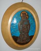 Anya és gyermeke (Madonna) - Mórocz Mária  tűzzománc kép